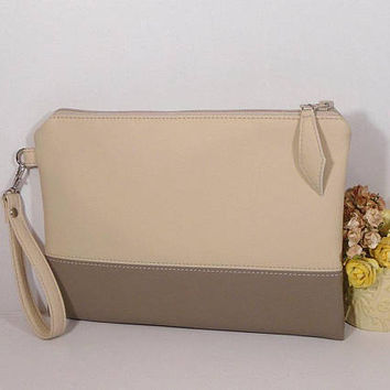 Cream clutch bridesmaid, wedding clutch for bride, Evening clutch bag, beige leather purse, monogrammed wedding clutch,  Wedding Accessory
