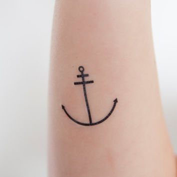 Anchor Temporary Tattoo, Tattoo Temporary, Black, Nautical Art, Anchor Illustration, Birthday Present, Birthday Gift, Gift Ideas, Modern Art