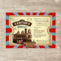 Train Invitation Vintage Train Birthday Invitation Ticket Invitations Steam Engine Passenger Trains Party Invite red teal Locomotive