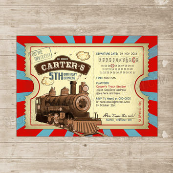 Train Ticket Invitation Vintage Train from SplashboxPrintables on