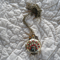 Vintage Style Peacock Pendant Locket Necklace with a Long Chain