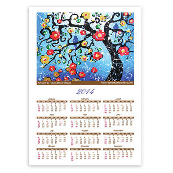 2014 Wall Calendar, Cherry Tree of Life, Love Birds Whimsical Landscape, Signed Giclee Print 13x18