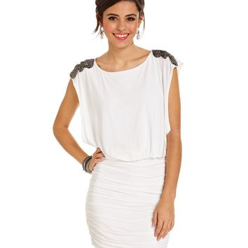 As U Wish Juniors Dress, Cap Sleeve Appliqué Blouson Mini - Juniors Homecoming Dresses - Macy's