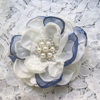 Bridal Hair Clip Ivory Satin Blue Organza Lace and Chiffon Wedding Flower Hair Clip Bride Bridesmaids Prom with Pearl and Rhinestone Accent