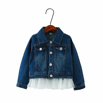 2017 New Patchwork Baby Girls Outerwear Lace Cowboy Clothing Denim Toddler Jacket Top Button Costume Outfits Coat Kids Clothes
