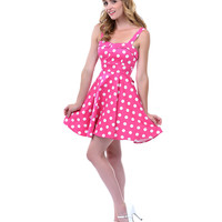 Pink & White Polka Dot Darling Dress - Unique Vintage - Prom dresses, retro dresses, retro swimsuits.