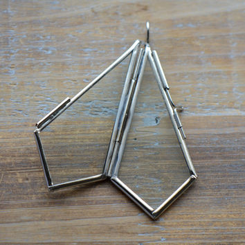 SILVER Glass Frame Pendant KITE Shape Double Sided Glass Hinged Locket Picture Frame Pendant Charm Jewelry Pendant M010