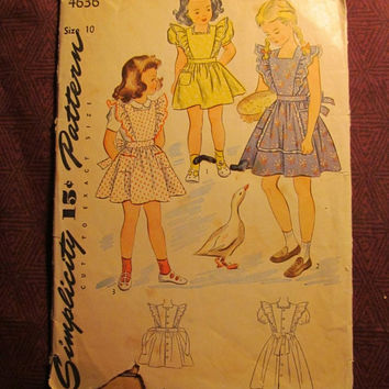 SALE Complete 1940's Simplicity Sewing Pattern, 4636! Size 10 Girls/Kids/Child/Pinafore Dress/Mother & Daughter Fashion/Ruffle Sleeves/Flare