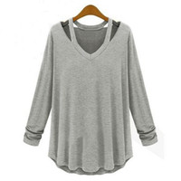 Summer Autumn Women T Shirts Casual Long Sleeve Tops Tees Loose Tshirt Sweatshirt Ladies Hollow out O neck Solid t-shirts