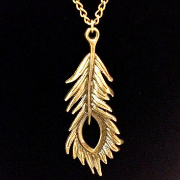 Peacock feather bronze pendant charm necklace