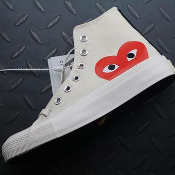 Converse High Tops Cdg Play Addict Fashion Canvas Flats Sneakers Beige