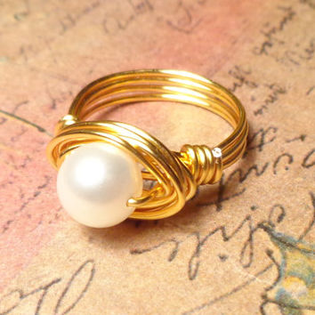 Pearl Ring, Pearl Wire Wrapped Jewelry Handmade, Ring Size 4 5 6 7 8 9 10 11 12 13 14, Pearl Wire Ring, Gift Ideas for Her