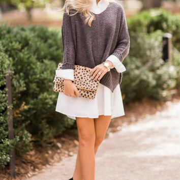 Just Because Grey Sweater