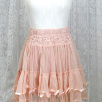 Romantic dusty pink lace skirt tutu tulle pleated mini skirt victorian smocked waist tube top babydoll