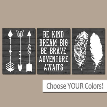FEATHER ARROW Wall Art, Nursery CANVAS or Print, Woodland Quote Artwork, Be Kind Be Brave, Dream Big, Adventure Awaits,Rustic Decor,Set of 3