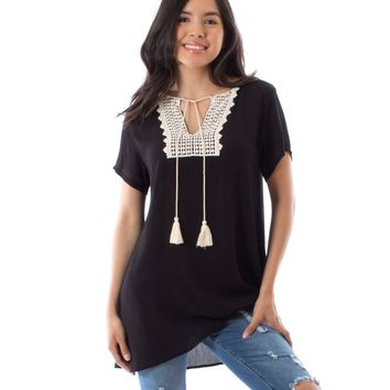 Short Sleeve Crochet Tassel Tunic