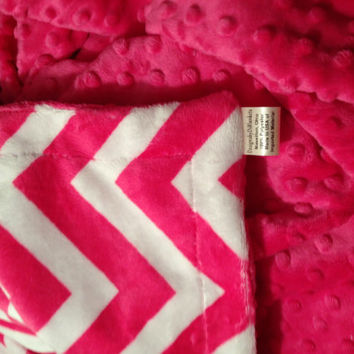 Minky Chevron Blanket Adult Throw  Hot Pink Chevron Polka Dot Minky Back  Adult Throw 50 x 60 in