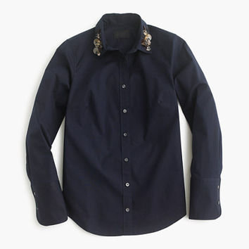 J.Crew Womens Collection Perfect Shirt With Embellished Collar