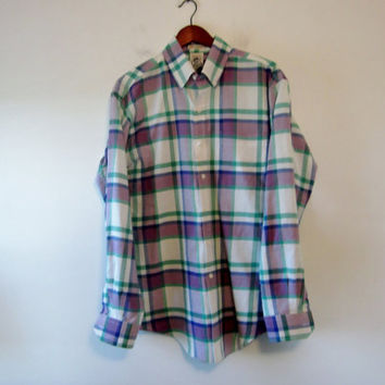 Vintage 80s Plaid Shirt Arrow Dover Button Down Long Sleeve Summer Plaid Mens Large Violet Green