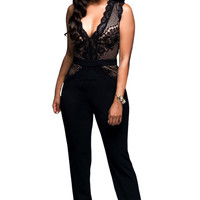 Hot Sexy Black/red Nude Lace Accent Jumpsuit