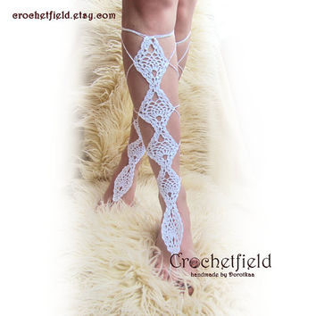 PINNEAPLE crochet lace up white barefoot sandals, knee high, gladiator boots, long, lace, beach, pool, leggings, wedding