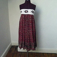Sun dresses / boho upcycle dress / crochet bodice / bohemian / clothes / red / hippie / Dolly Topsy Etsy UK