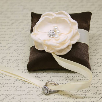 Brown and Ivory Ring Pillow attach to Dog Collar, Ring Bearer, Proposal Idea, Floral