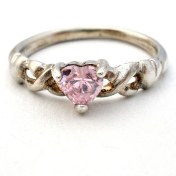 Vintage Sterling Silver Heart Pink Ice Ring Childs