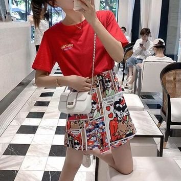 """Moschino"" Women Fashion Letter Print Short Sleeve T-shirt Cartoon Anime Short Skirt Set Two-Piece"