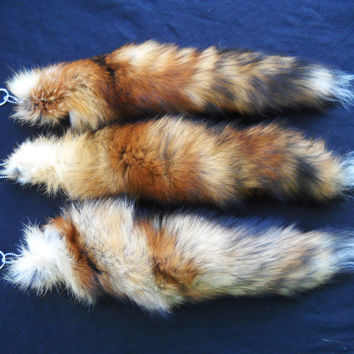 "Real 13""-14"" Red Fox Fur Tail Totem Keychain Key Ring Key Fob for Purse, Anime Costume, Etc"