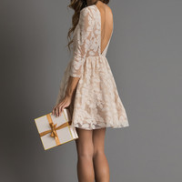 Elena Beige Floral Lace Dress