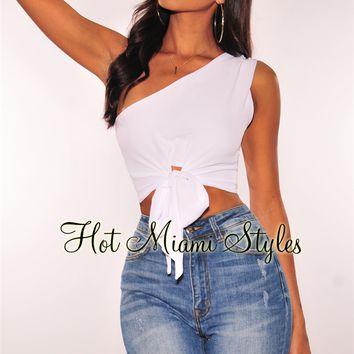 White One Shoulder Tie Up Crop Top