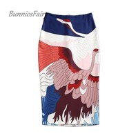 BunniesFairy 2017 Summer New Women Sexy Wild Geese Flying Bird Animal Print High Waist Long Pencil Skirts Stretch Hip Saia Falda