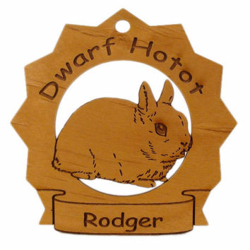 Dwarf Hotot Rabbit Personalized Wood Ornament