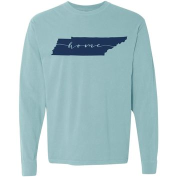 Adult Tennessee Home on a Long Sleeve Chalky Mint T-Shirt
