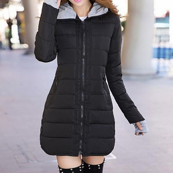 Black Zippered Long Sleeve Quilted Coat