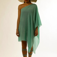 One Shoulder Beach Coverup, Kaftan, Tunic, Caftan, handmade of cotton gauze in mint.