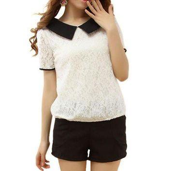 2016 Korea Style Summer Women Girl Lace Lapel Short Sleeve Blouse Tops Loose Peter Pan Collar Back Bowknot Shirt S Xxl