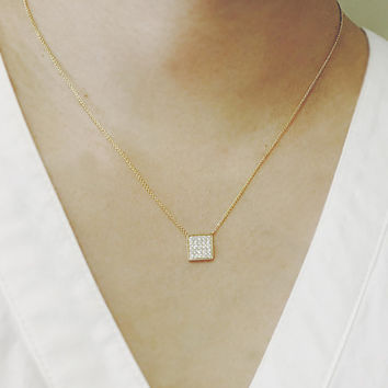 Square Charm Diamond Necklace Engagement Necklace Wedding Necklace Bridal Jewelry