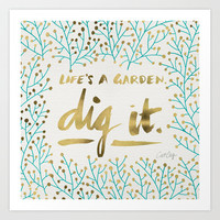 Dig It – Gold & Turquoise Art Print by Cat Coquillette