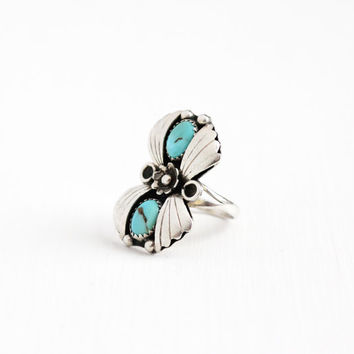 Vintage Sterling Silver Turquoise Ring - Size 7 1/4 Retro 1960s Southwestern Native American Style Leaf Flower Floral Jewelry