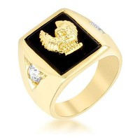 0.4ct CZ 18k Gold Eagle Men's Ring