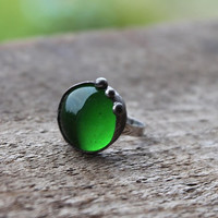 small delicate green sea glass ring, statement ring, Engagement ring, coctail ring, adjustable ring