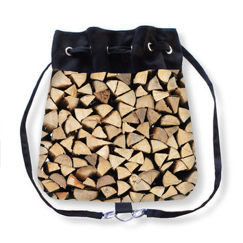Firewood, Boho Bag, Backpack, wood, black, brown, beige, country living, accessory, camping, fireplace, rustic, Austria