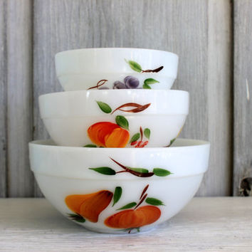 fire king 'gay fad' mixing bowls // vintage hand painted fruit // milk glass bowls // set of 3