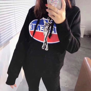 LMFON Supreme x Hysteric Glamour' Women Casual Fashion Letter Pepsi Cola Pattern Print Long Sleeve Hooded Sweater Sweatshirt Tops