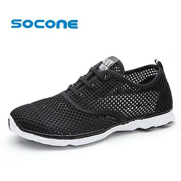 Socone Plus Size Men Summer Running Shoes Women Sneakers 2016 Mesh Breathable Sport Shoes Men Beach Water Shoes WomensTrainers