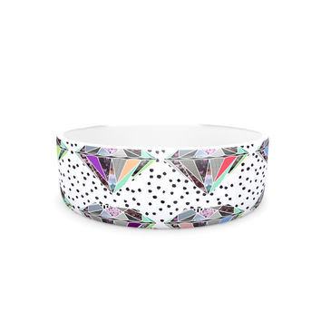 "Vasare Nar ""Polka Dot Diamonds"" White Rainbow Pet Bowl"