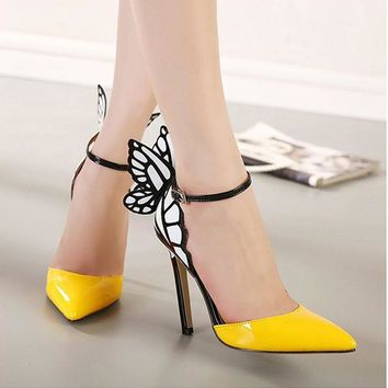 Big Size 2017 Thin High Heels Women Pumps 8/11cm ,Butterfly Heels Sandals,Sexy Wedding
