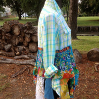 Romantic shabby floral plaid lace boho upcycled lagenlook reconstructed top, M